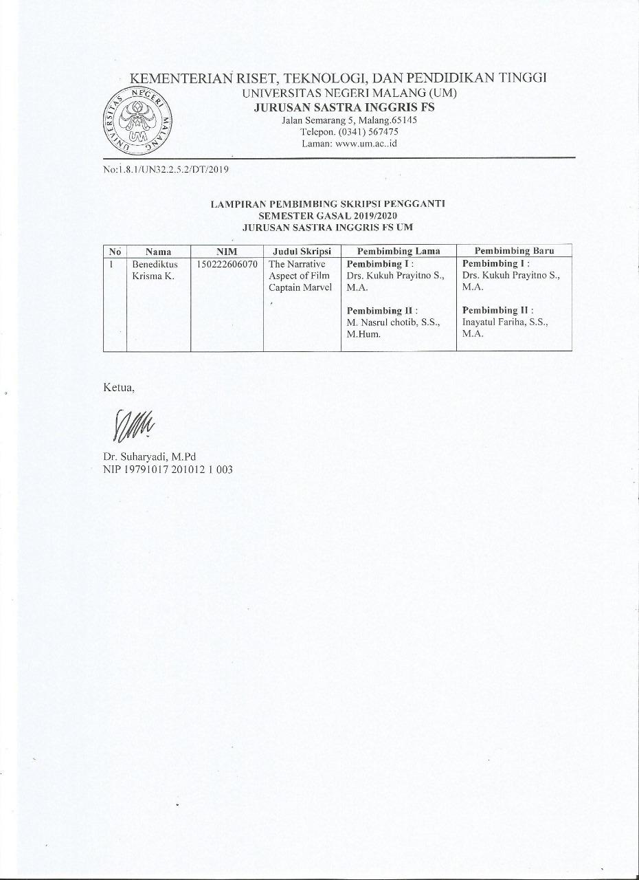 New Thesis Advisors for Benediktus Krisma K.