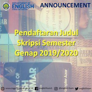 Pendaftaran Judul Skripsi Semester Genap 2019/2020