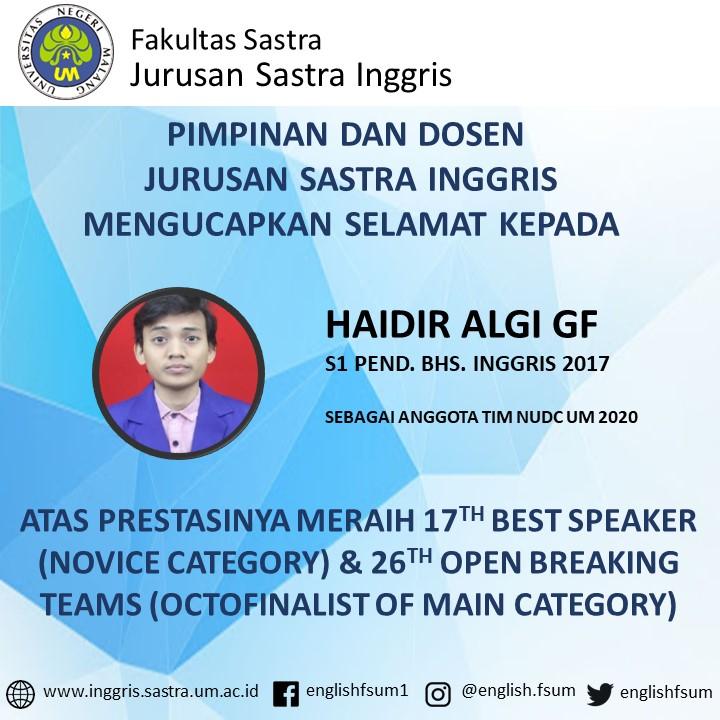 Congratulations to Haidir Algi G.F.