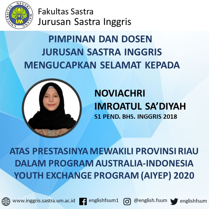 Congratulations to Noviachri Imroatul Sa'diyah