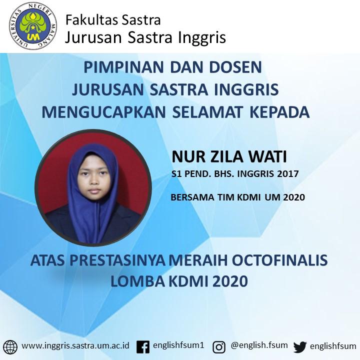 Congratulations Nur Zila Wati
