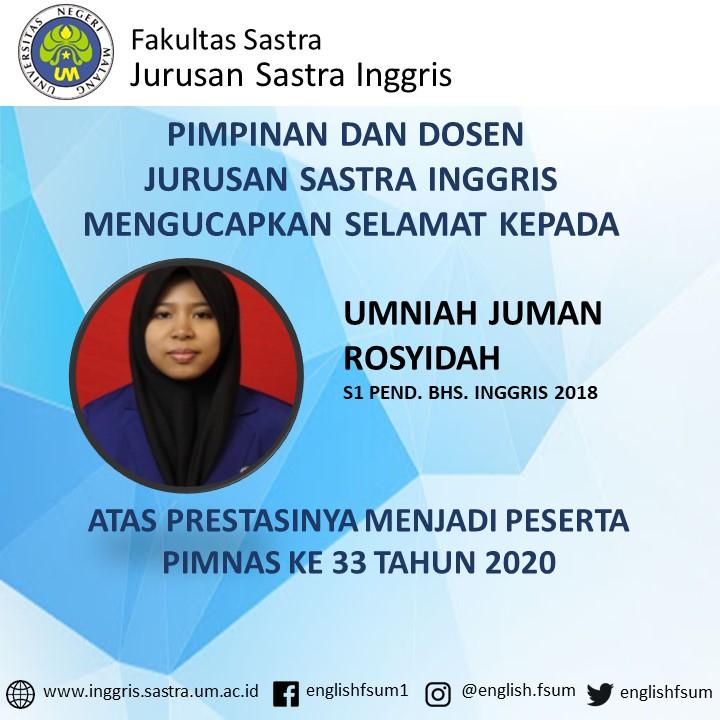 Congratulations to Umnia Juman Rosyidah